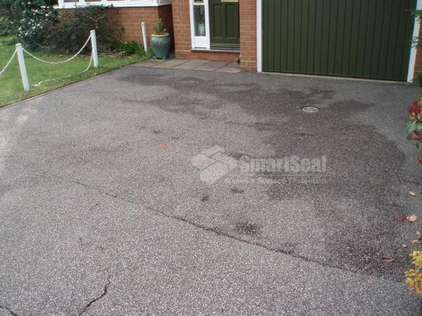 Drivew before tarmac restoration